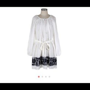 J crew linen casual dress tunic with embroidery M